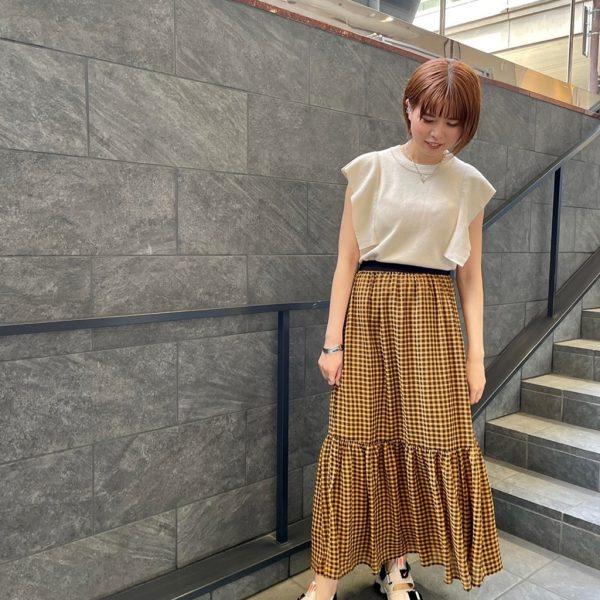 ギンガム裾ギャザースカート