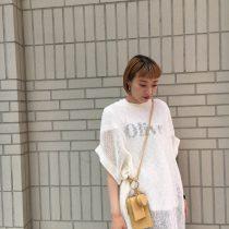 透かし編みリネン半袖プルオーバー